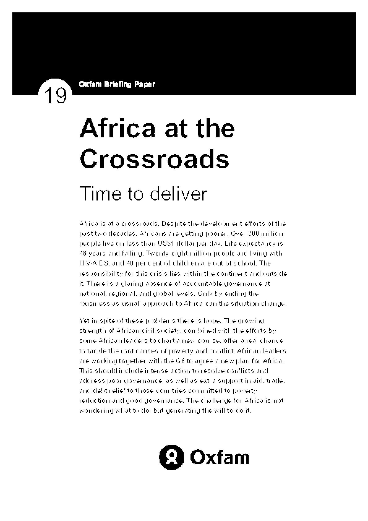 Africa at the Crossroads: Time to deliver