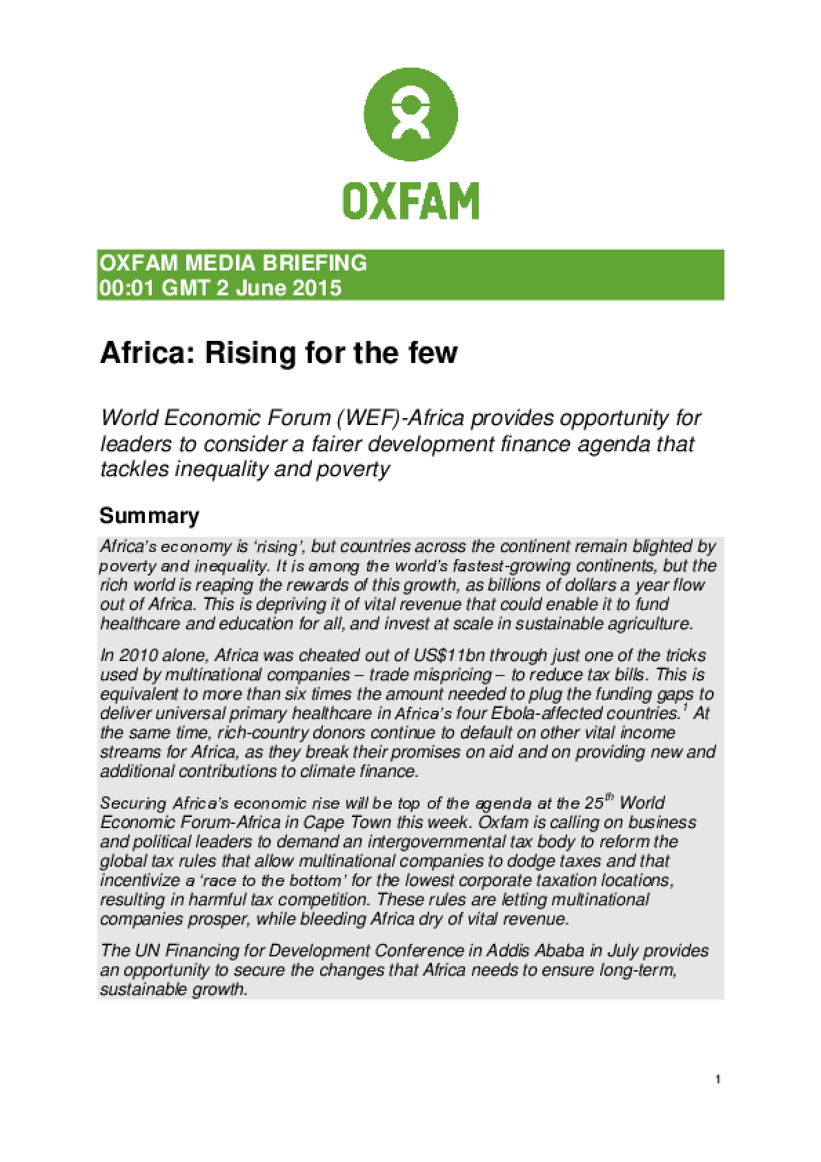 Africa: Rising for the few