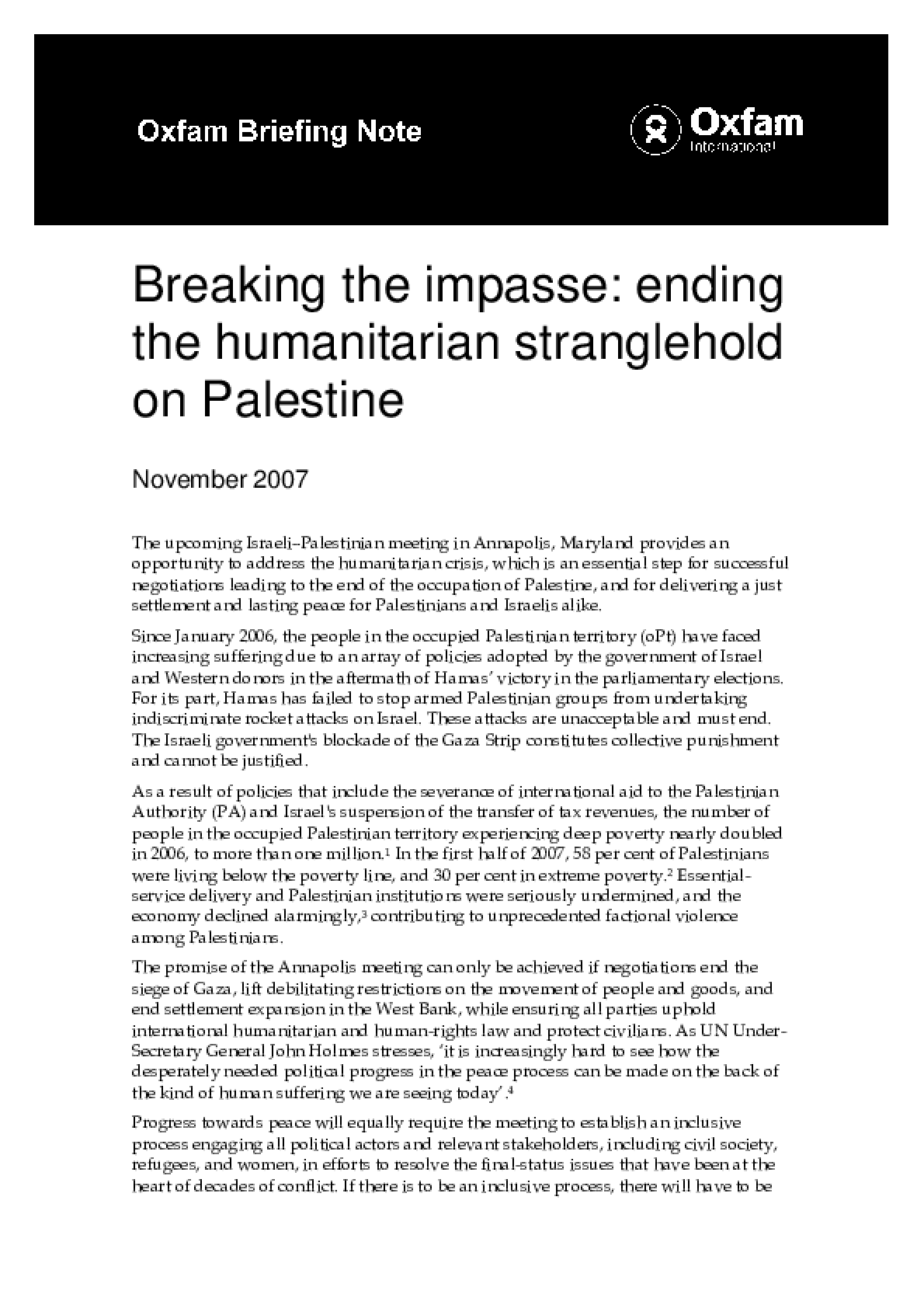 Breaking the Impasse: Ending the humanitarian stranglehold on Palestine