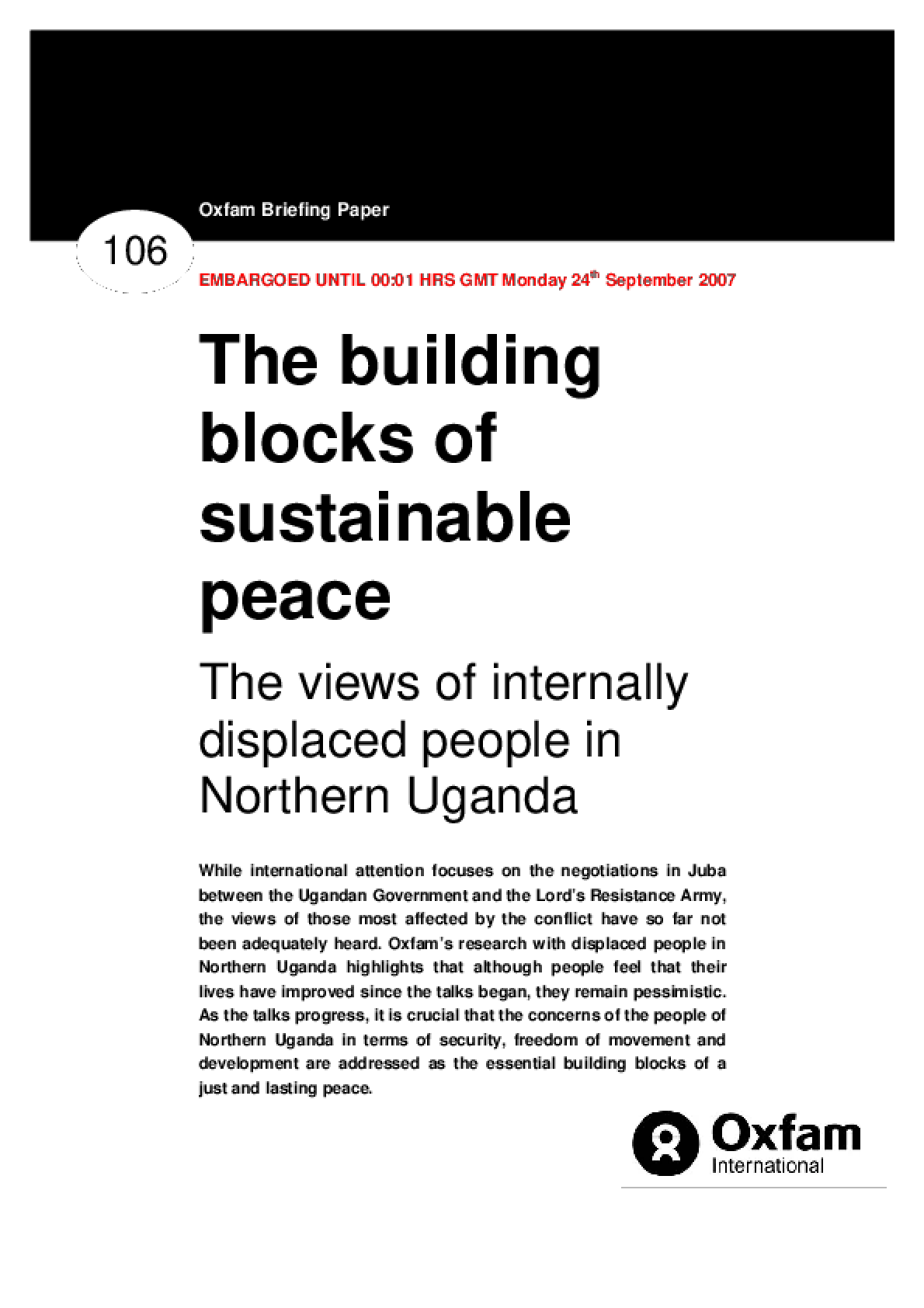 The Building Blocks of Sustainable Peace: The views of internally displaced people in Northern Uganda