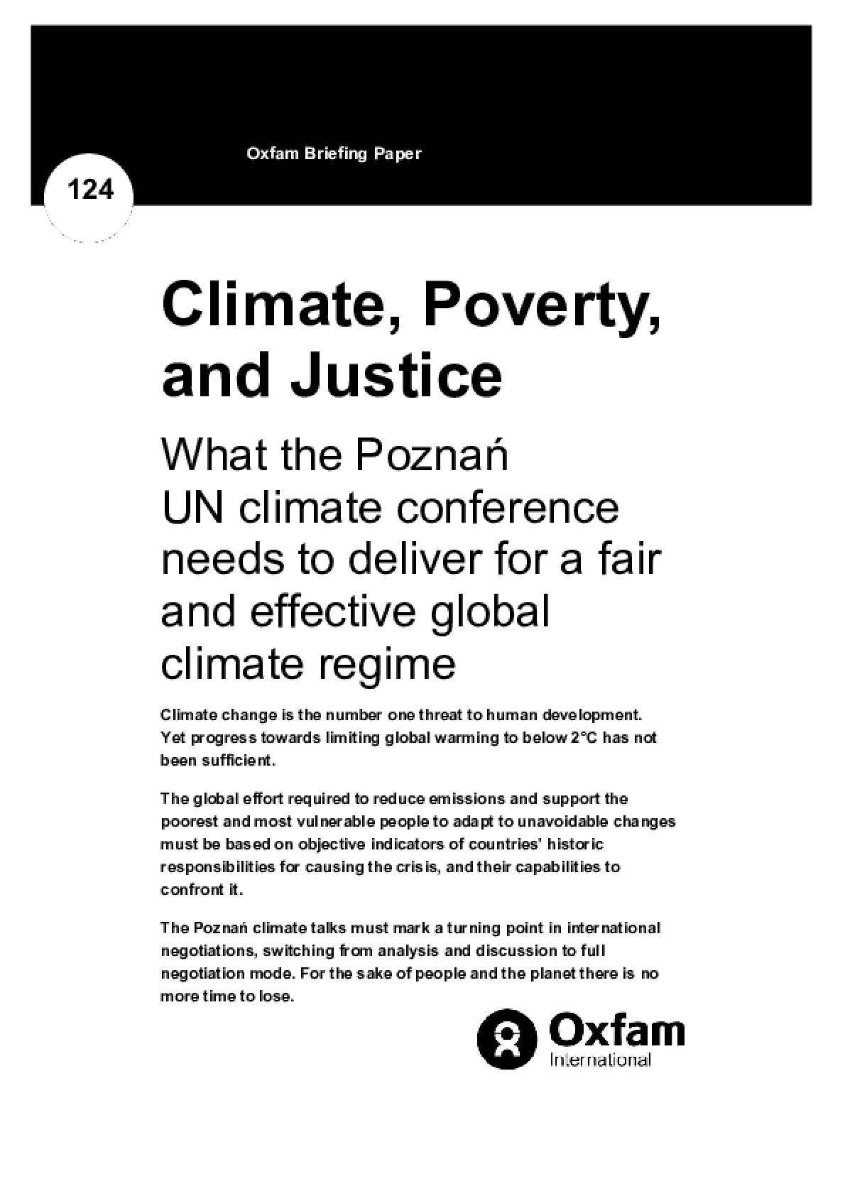 Climate, Poverty, and Justice: What the Poznan UN climate conference needs to deliver for a fair and effective global deal