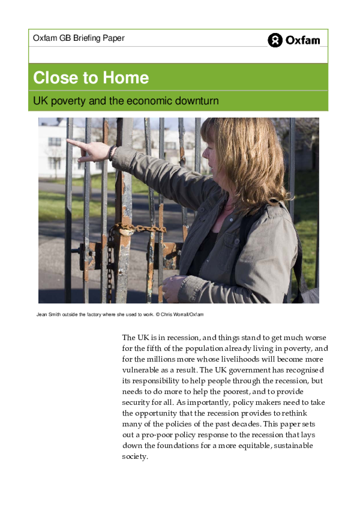 Close to Home : UK poverty and the economic downturn
