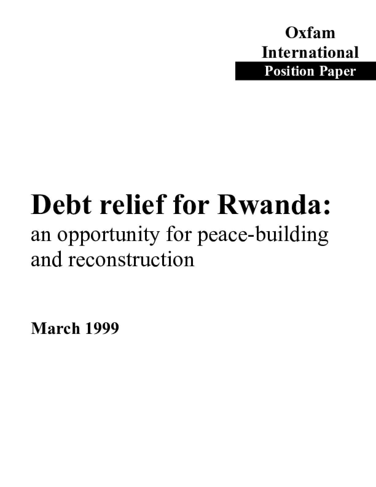 Debt Relief for Rwanda: An opportunity for peacebuilding and reconstruction