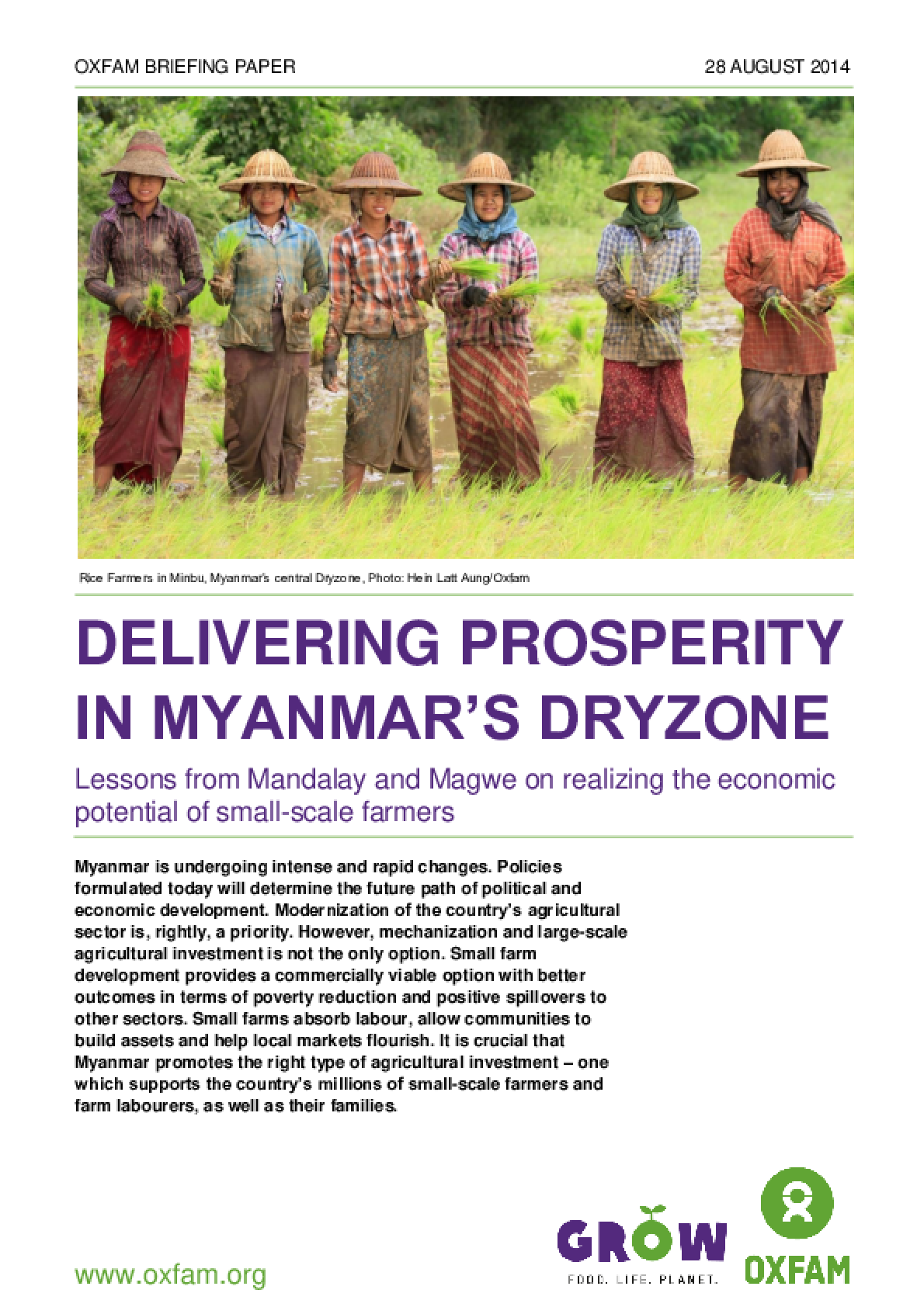 Delivering Prosperity in Myanmar's Dryzone: Lessons from Mandalay and Magwe on realizing the economic potential of small-scale farmers