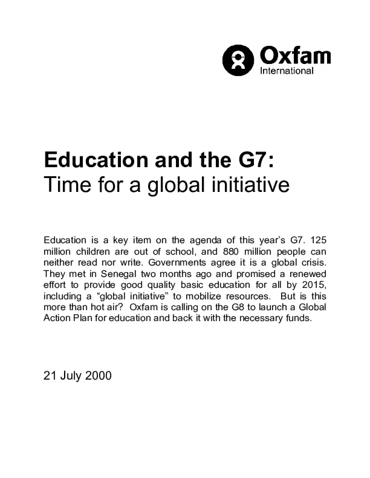 Education and the G7: Time for a global initiative