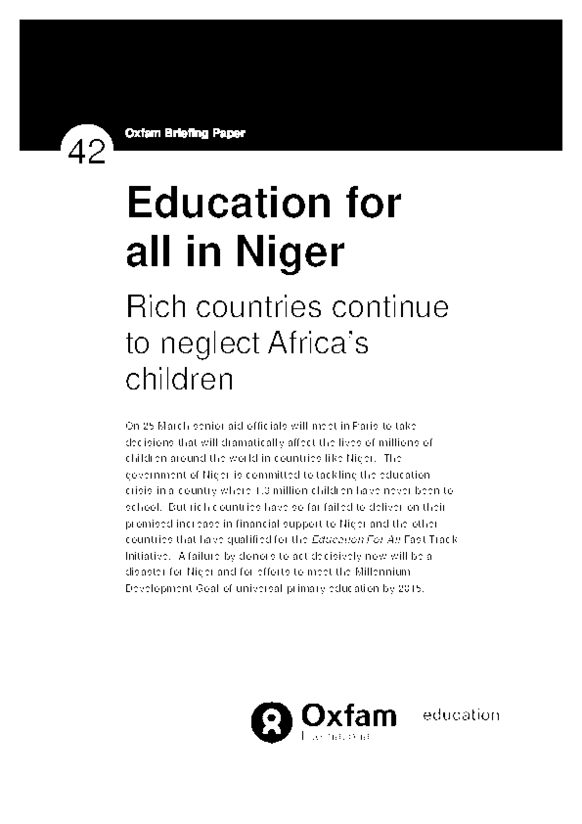 Education for all in Niger: Rich countries continue to neglect Africa's children