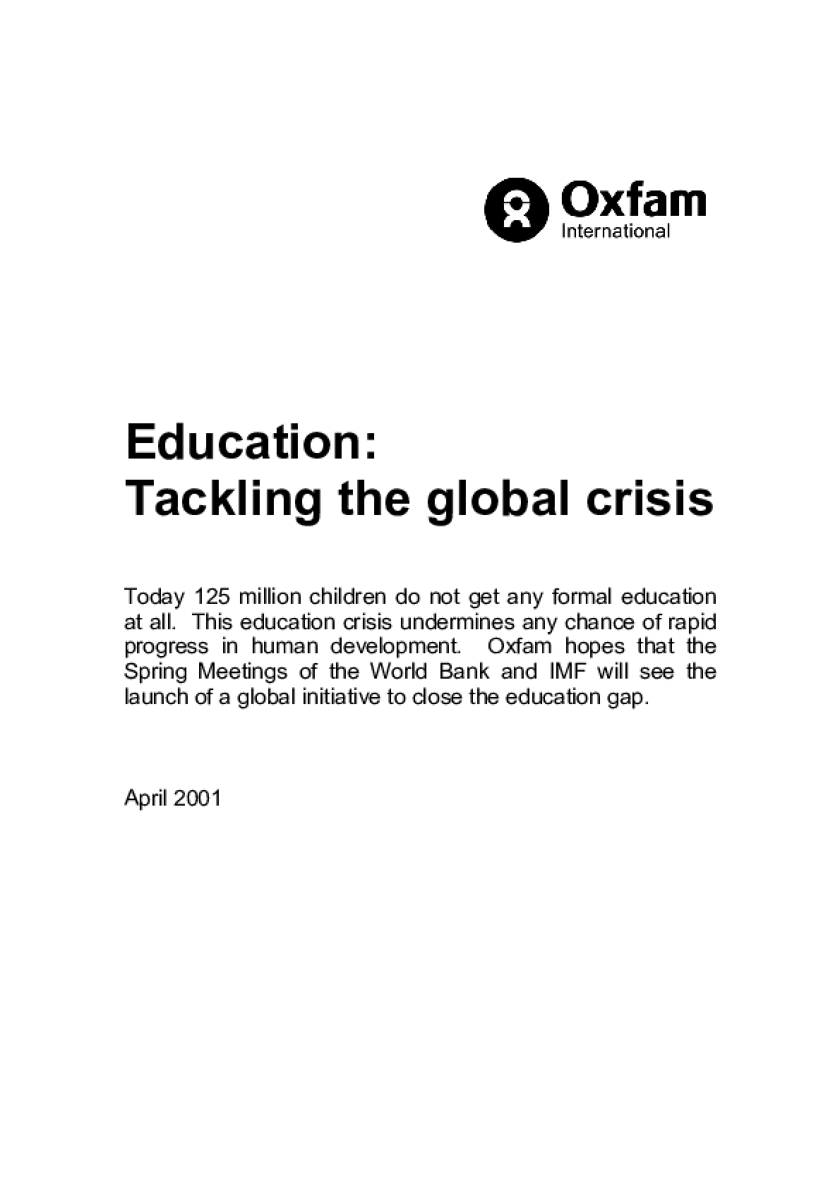Education: Tackling the global crisis