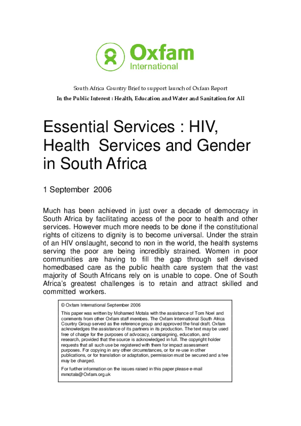 Essential Services: HIV, health services and gender in South Africa