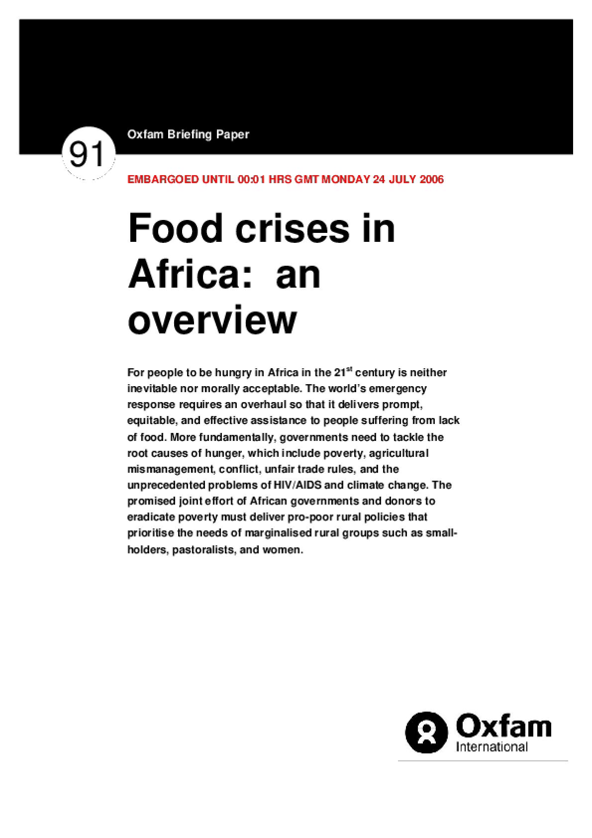 Food Crises in Africa: An overview