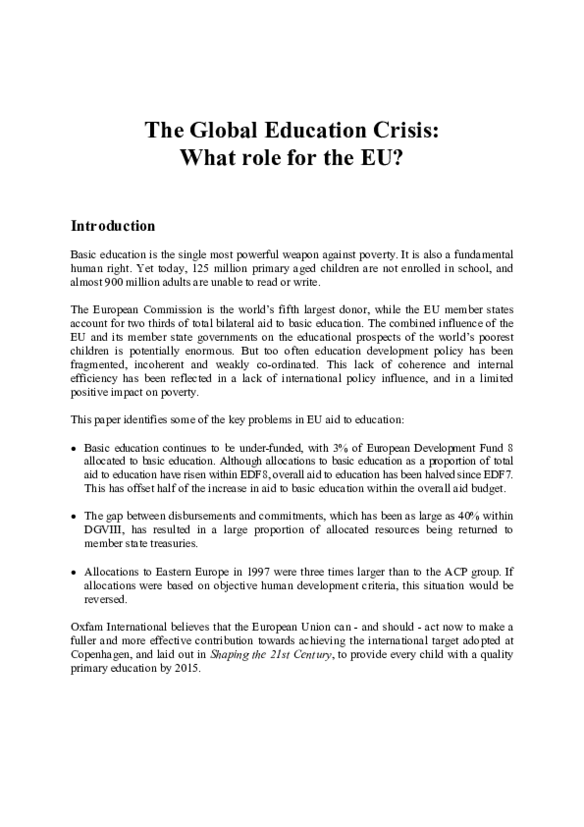 The Global Education Crisis: What role for the EU?