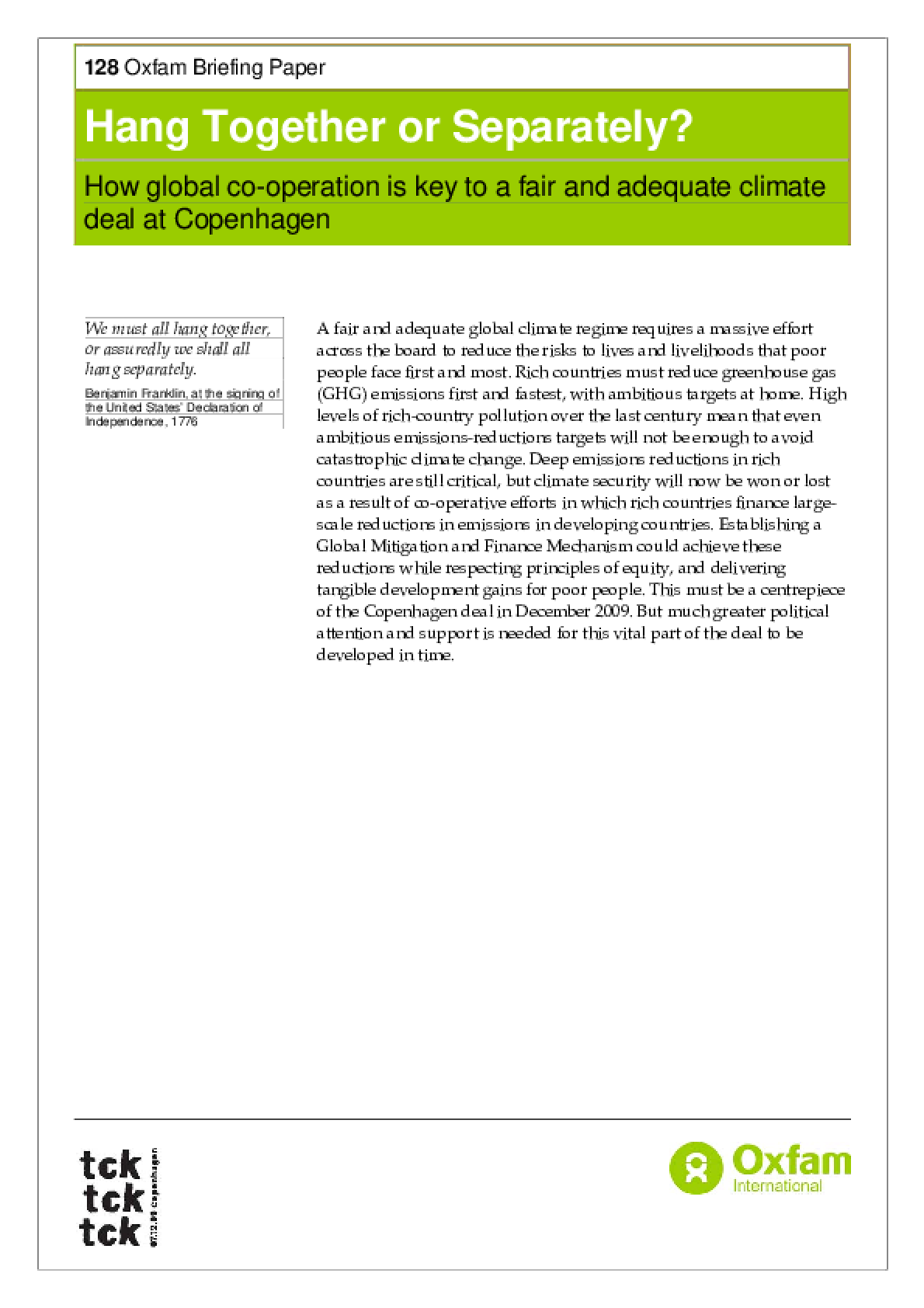 Hang Together or Separately? How global cooperation is key to a fair and adequate climate deal at Copenhagen
