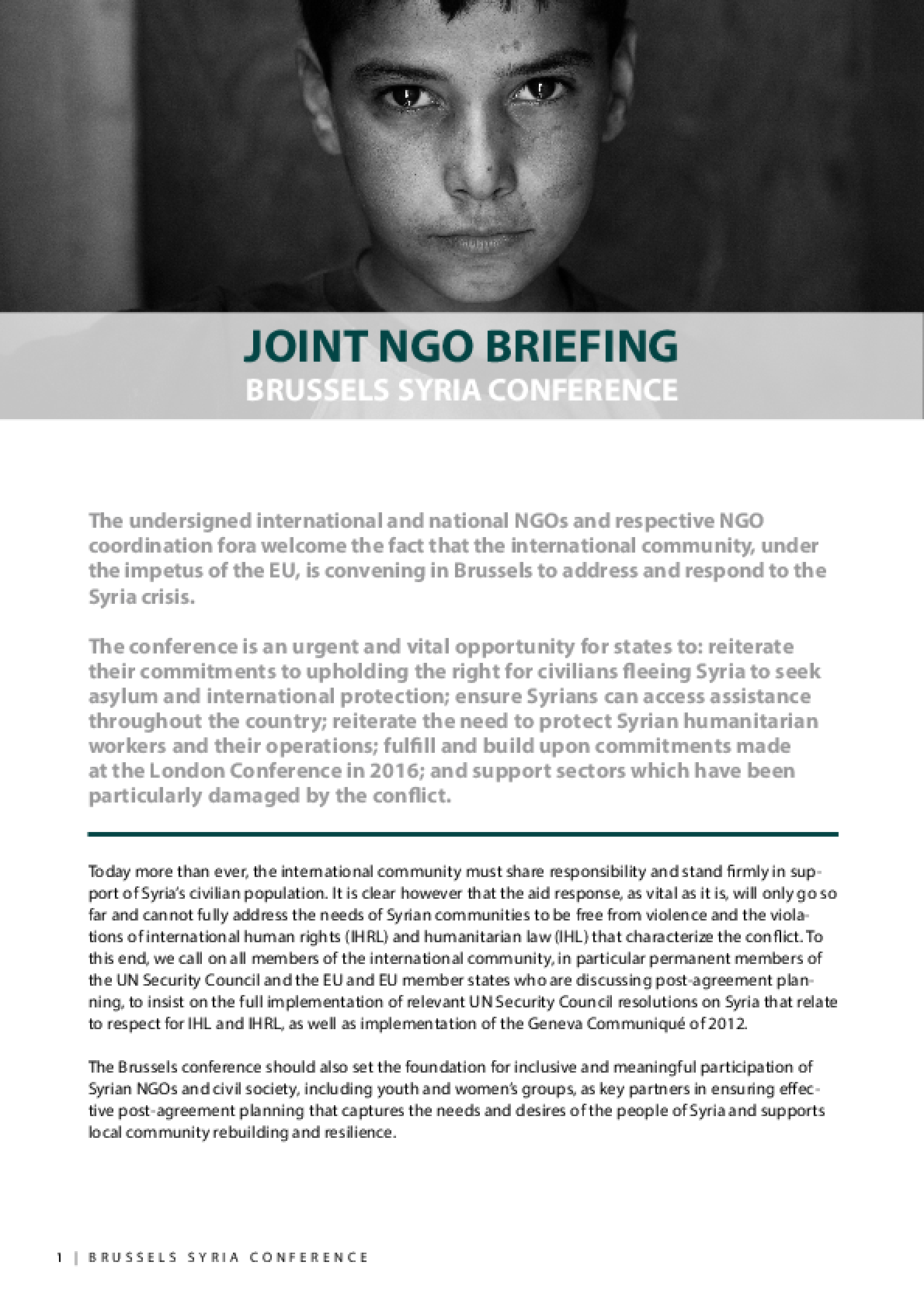 Joint NGO Briefing: Brussels Syria Conference