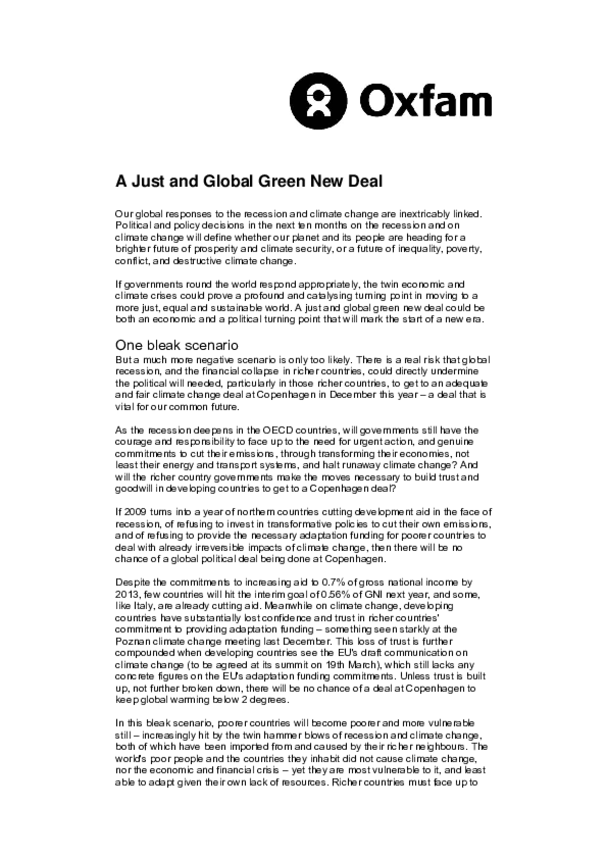 A Just and Global Green New Deal