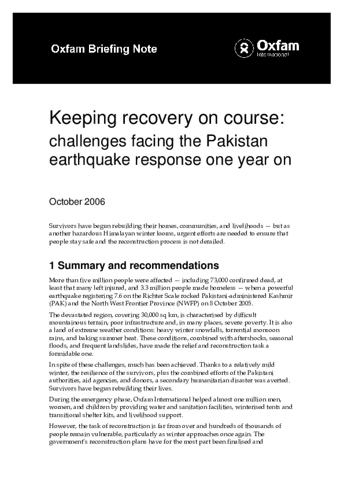 Keeping Recovery on Course: Challenges facing the Pakistan earthquake response one year on