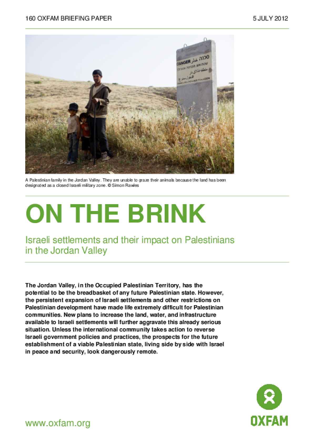 On the Brink: Israeli settlements and their impact on Palestinians in the Jordan Valley