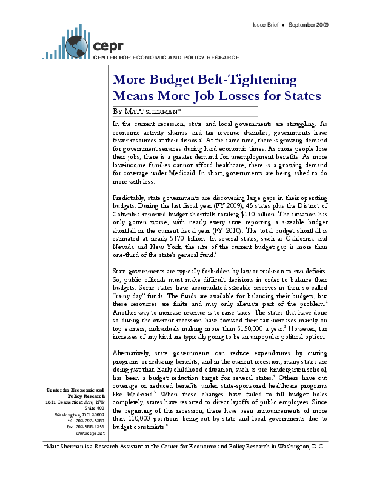 More Budget Belt-Tightening Means More Job Losses for States