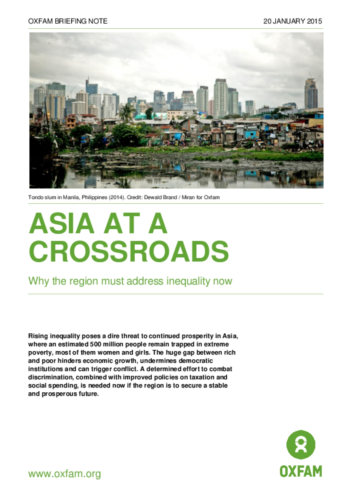 Asia at a Crossroads: Why the Region Must Address Inequality Now