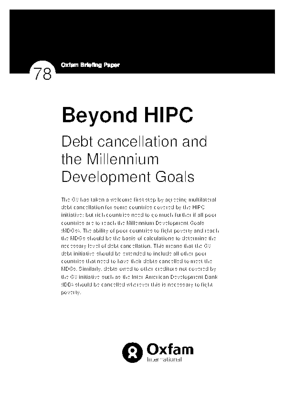 Beyond HIPC: Debt Cancellation and the Millennium Development Goals