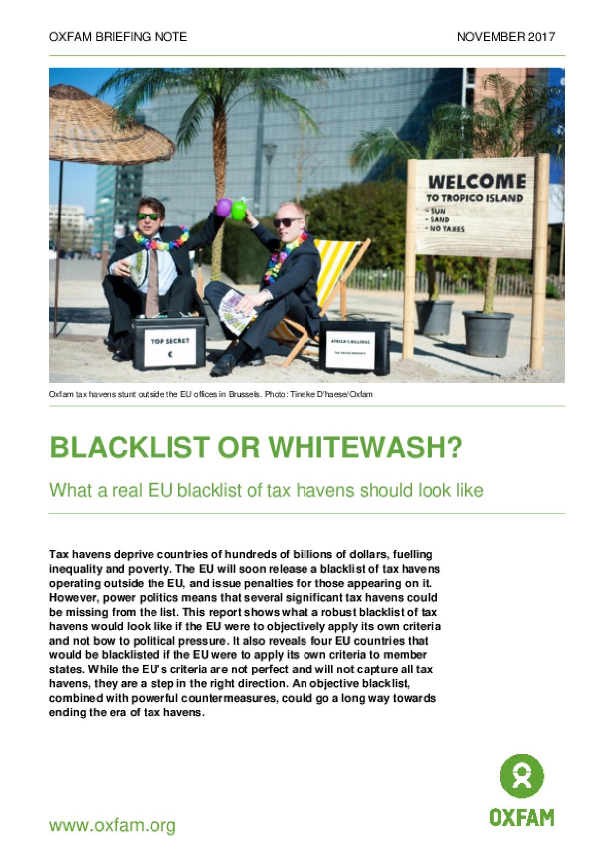 Blacklist or Whitewash? What a Real EU Blacklist of Tax Havens Should Look Like