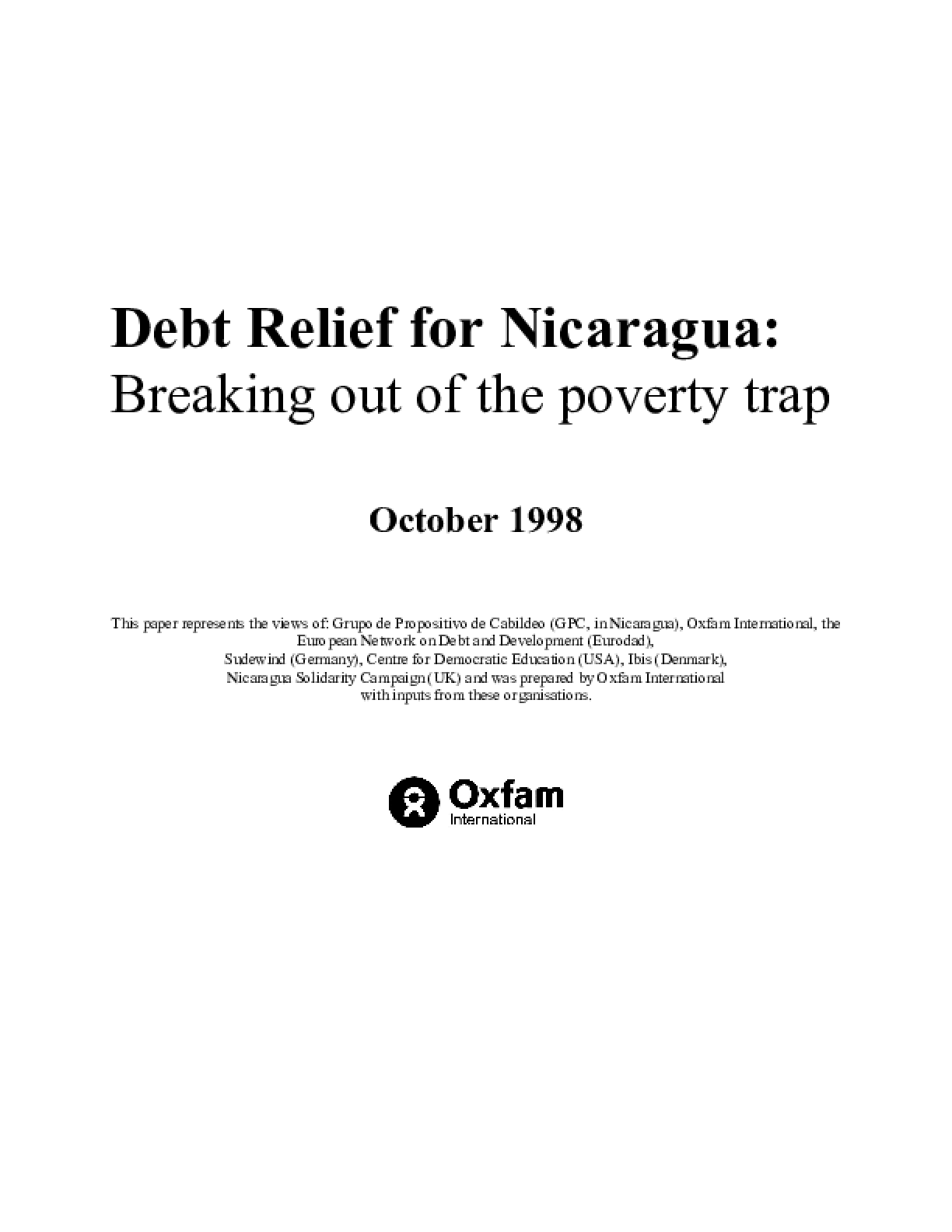 Debt Relief for Nicaragua: Breaking out of the Poverty Trap