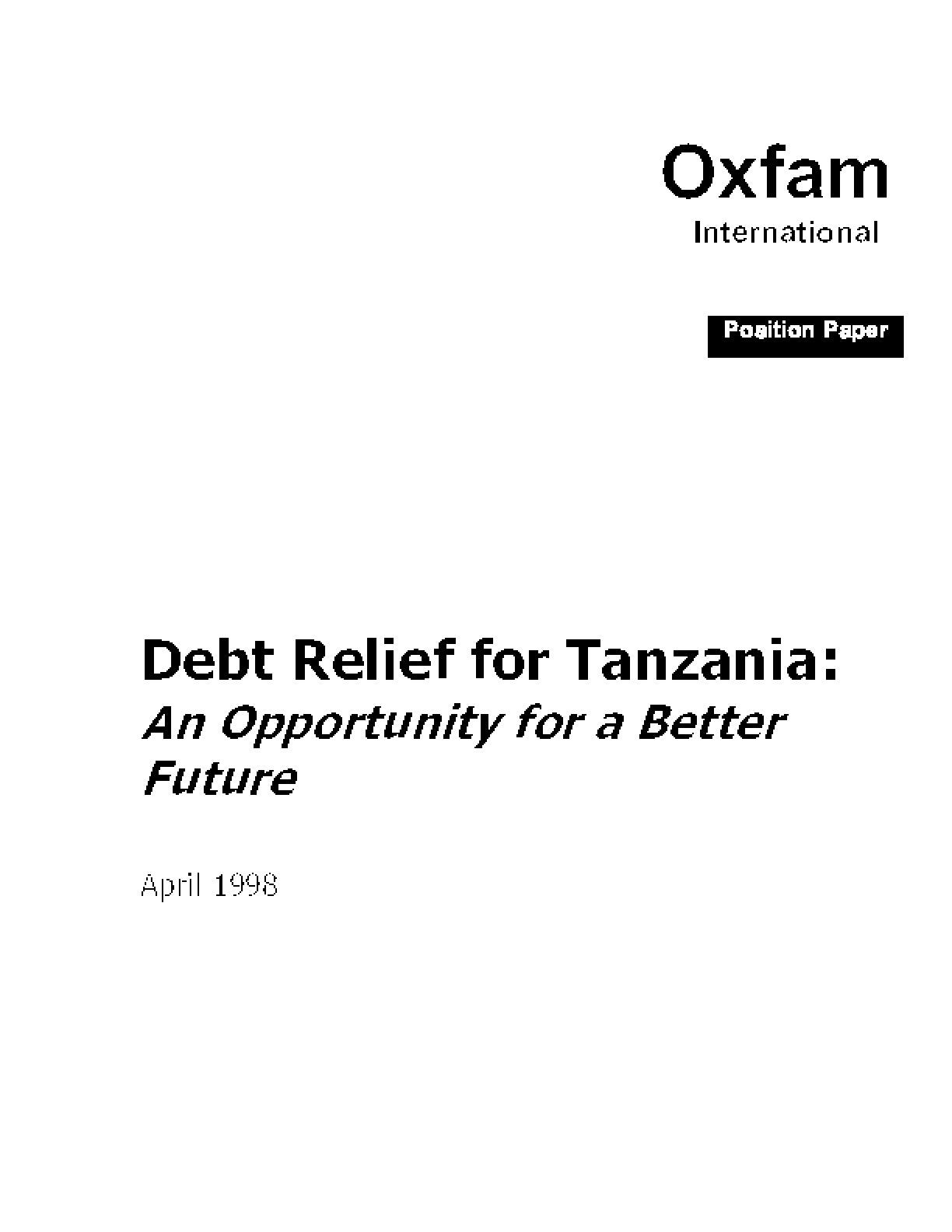 Debt Relief for Tanzania: An Opportunity for a Better Future