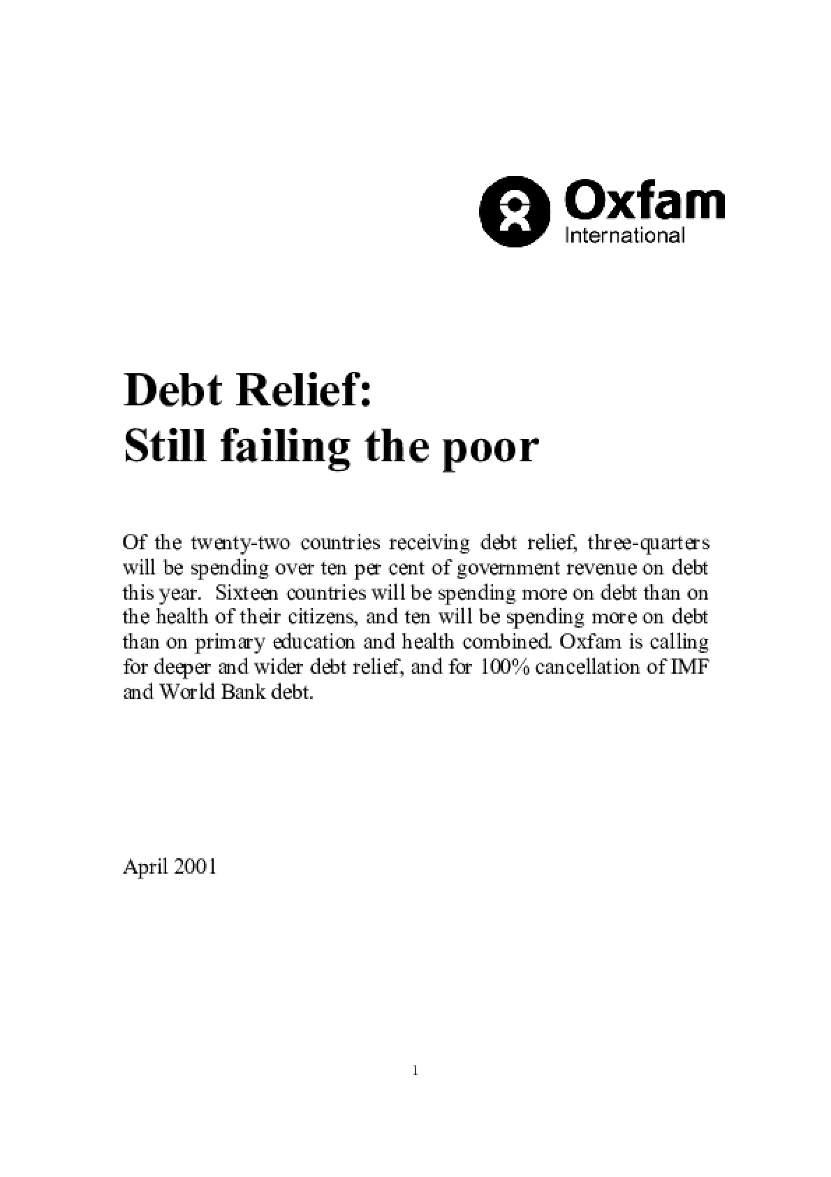 Debt Relief: Still Failing the Poor