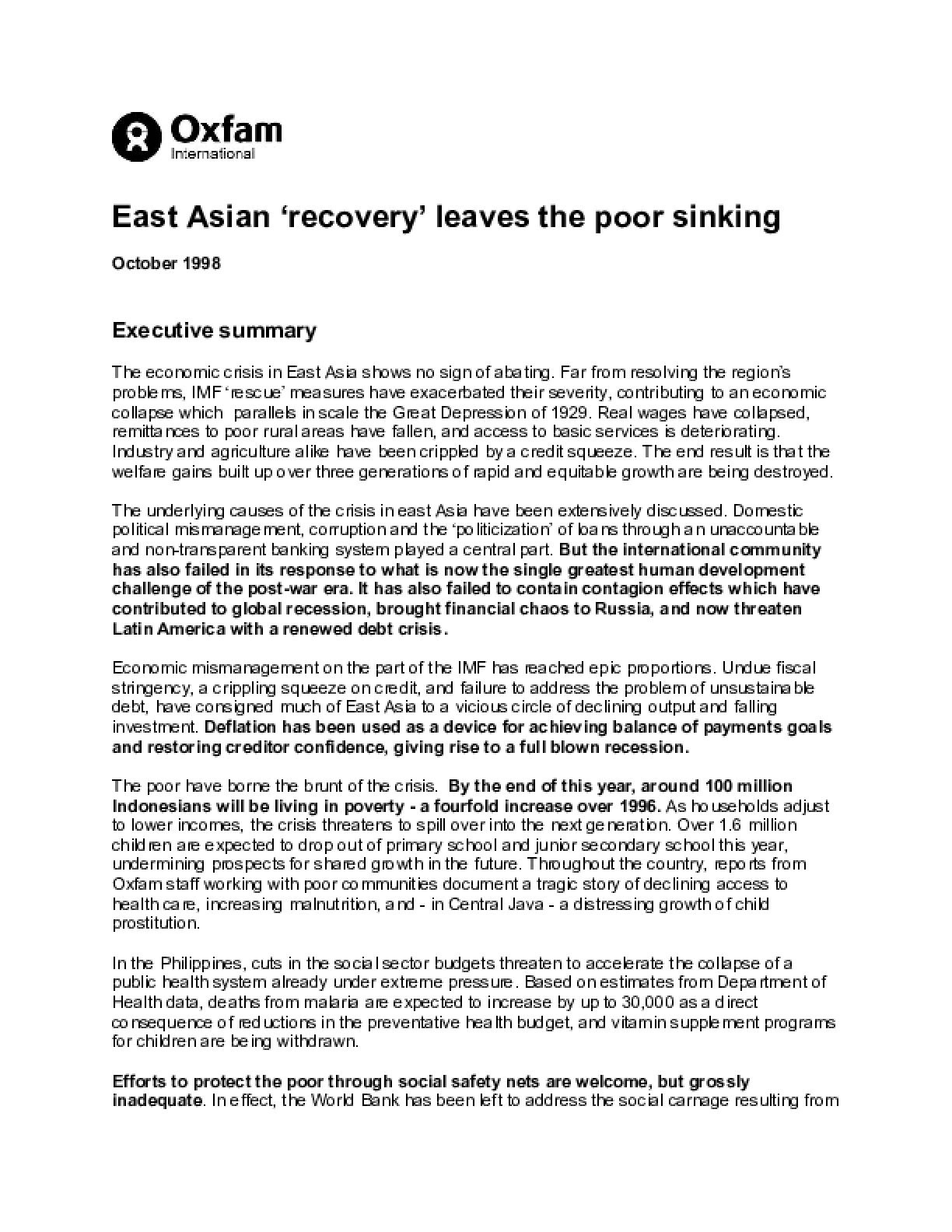 East Asian 'Recovery' Leaves the Poor Sinking