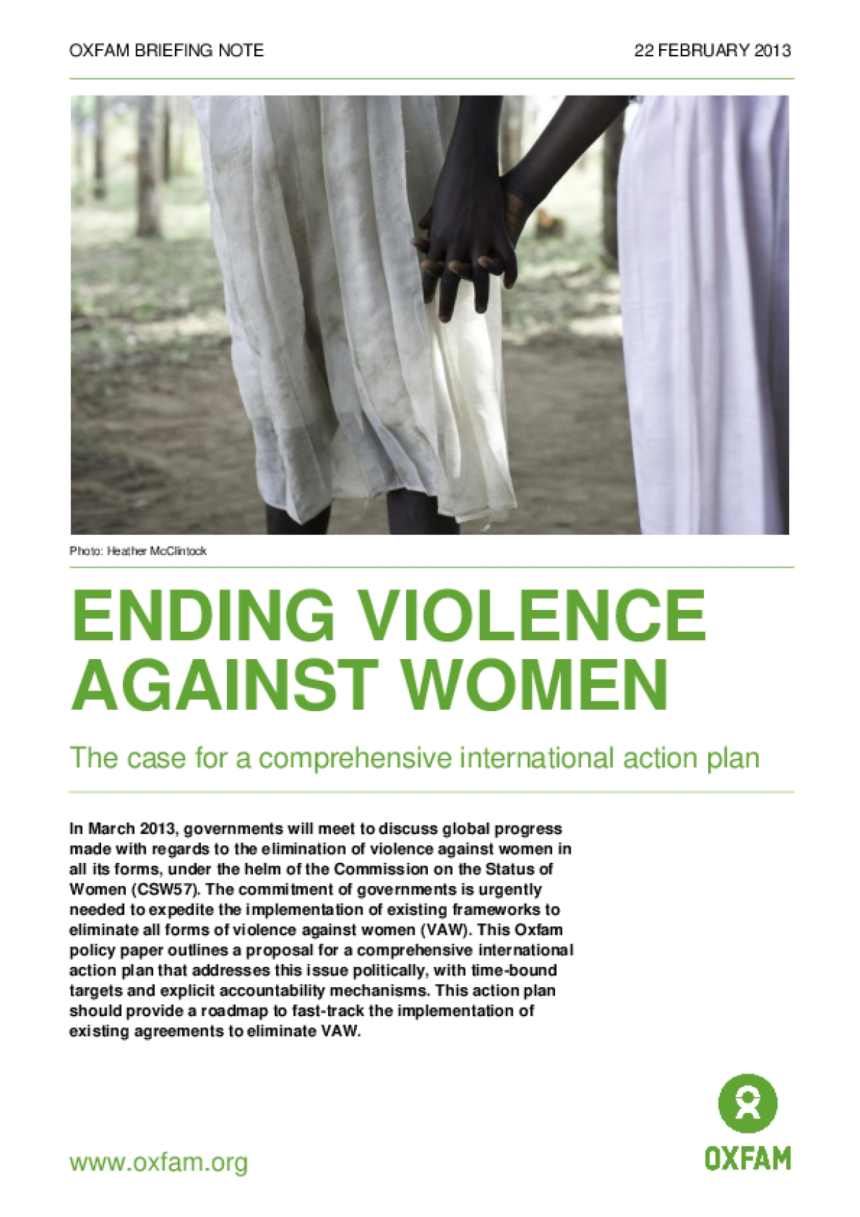 Ending Violence Against Women: The Case for a Comprehensive International Action Plan