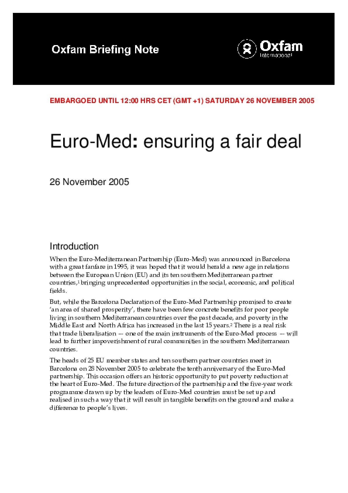 Euromed: Ensuring a Fair Deal
