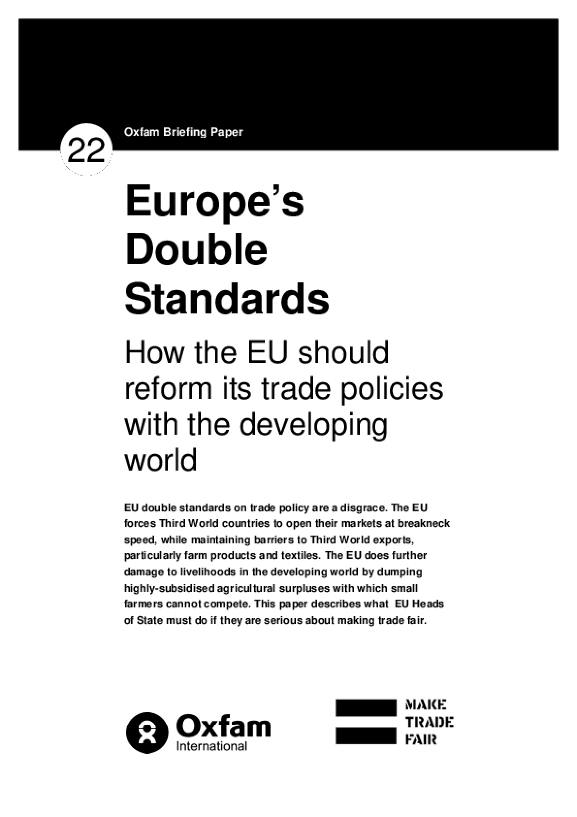 Europe's Double Standards: How the EU Should Reform Its Trade Policies with the Developing World
