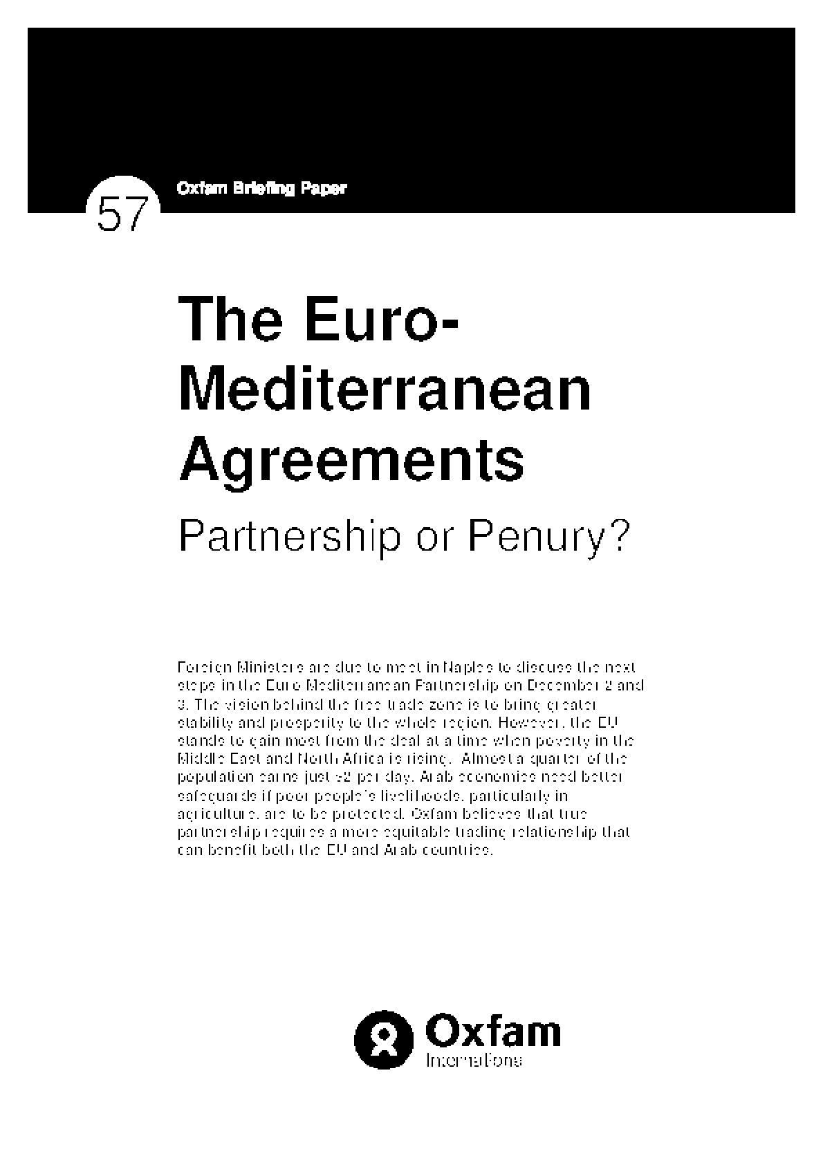 The Euro-Mediterranean Agreements: Partnership or Penury?