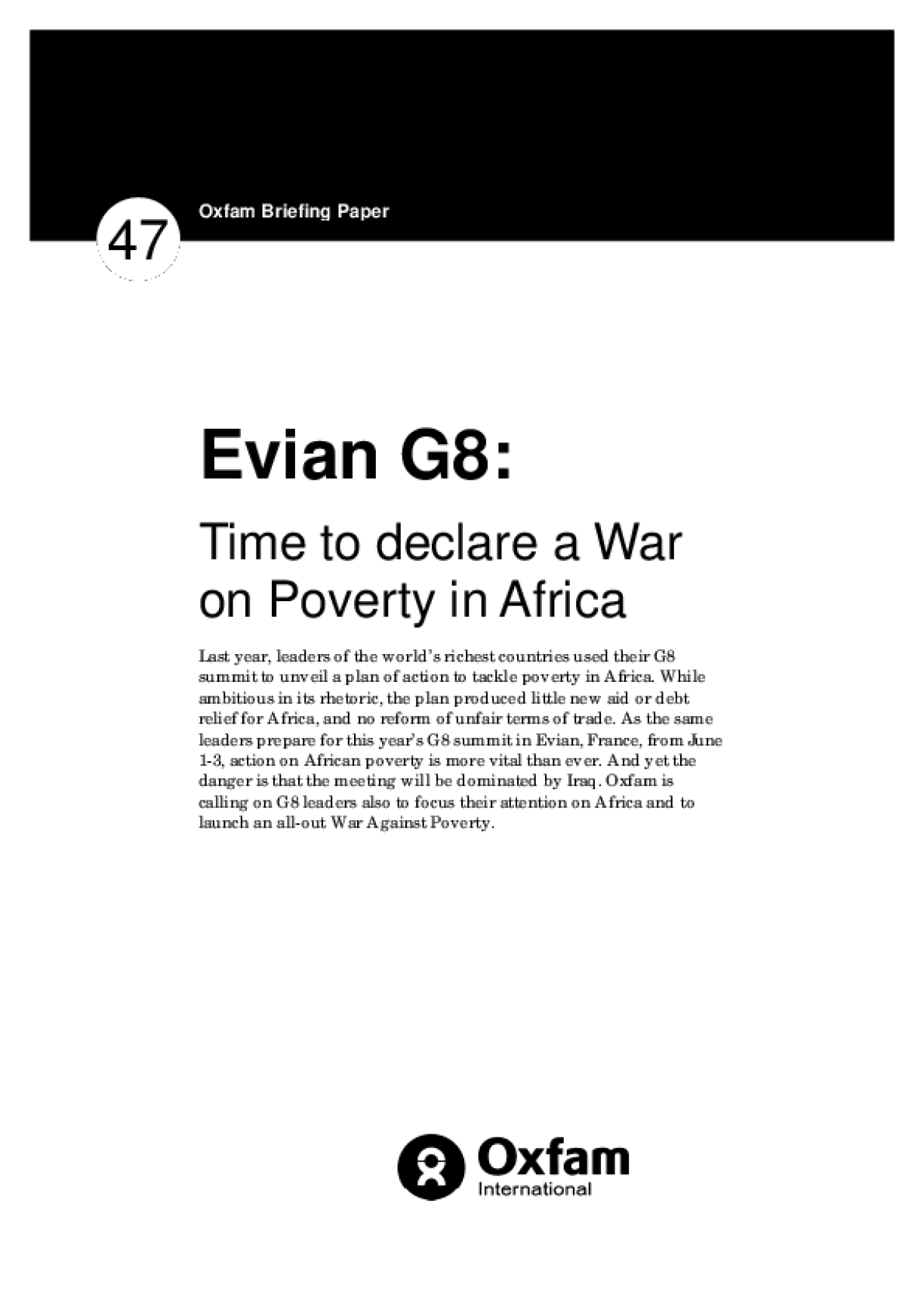Evian G8: Time to Declare a War on Poverty in Africa