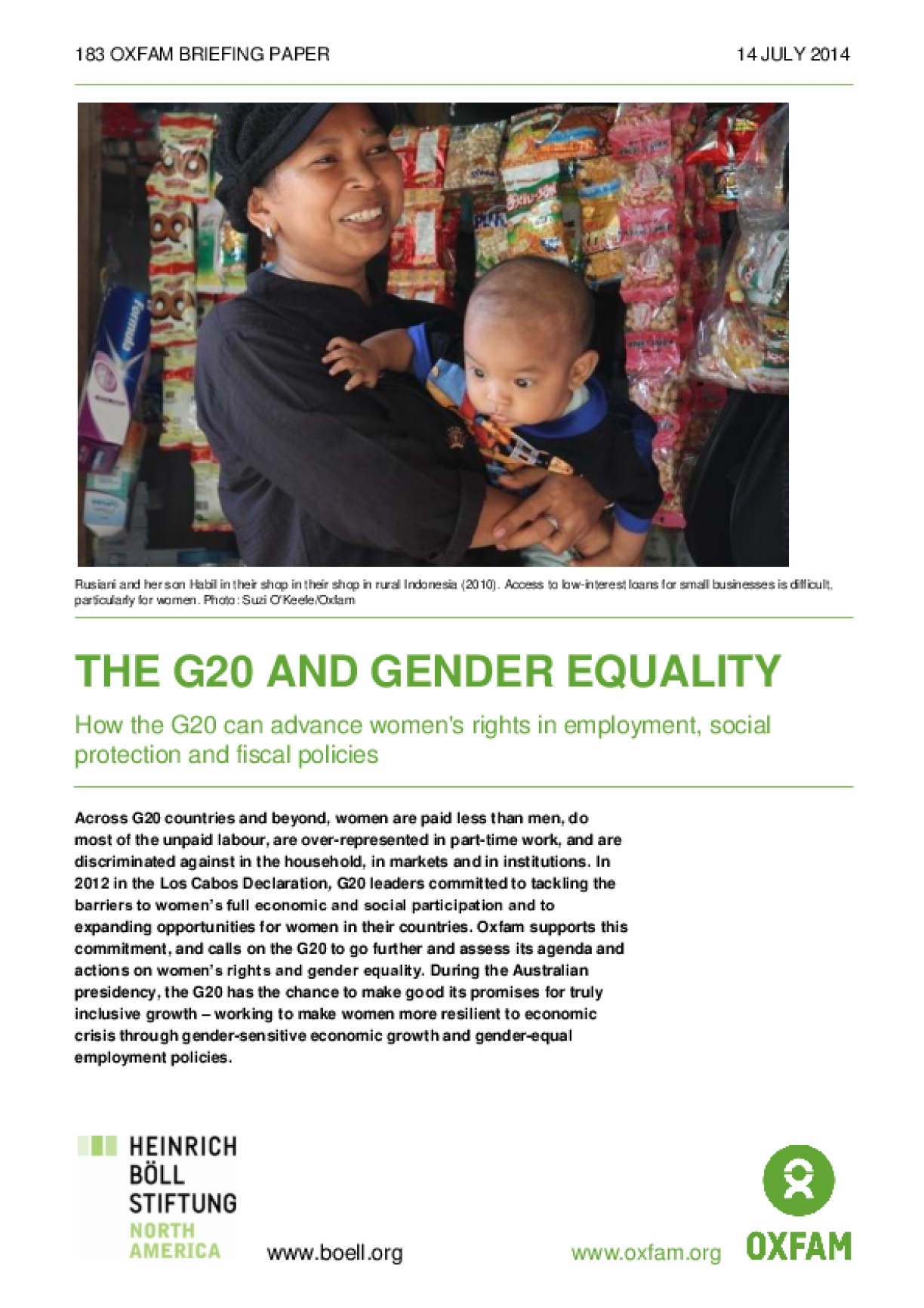 The G20 and Gender Equality: How the G20 Can Advance Women's Rights in Employment, Social Protection and Fiscal Policies