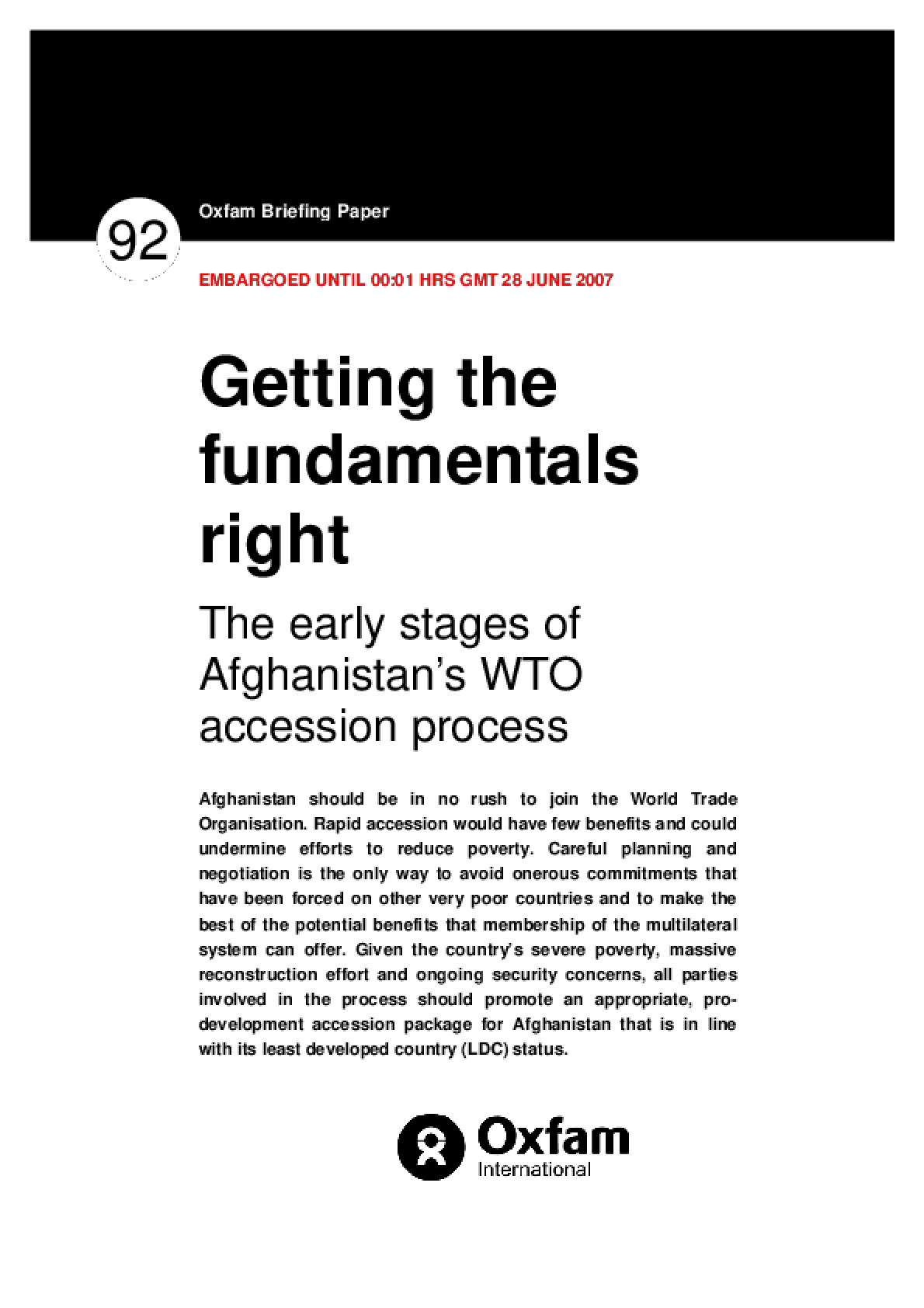 Getting the Fundamentals Right: The Early Stages of Afghanistan's WTO Accession Process