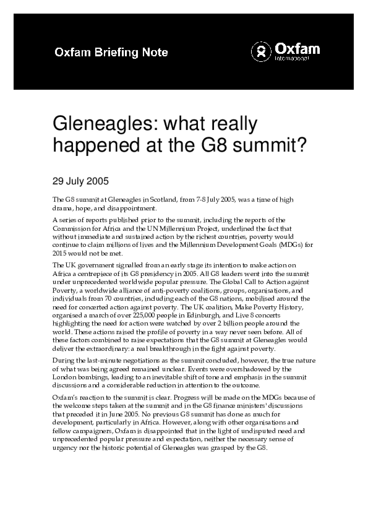 Gleneagles: What Really Happened at the G8 Summit?