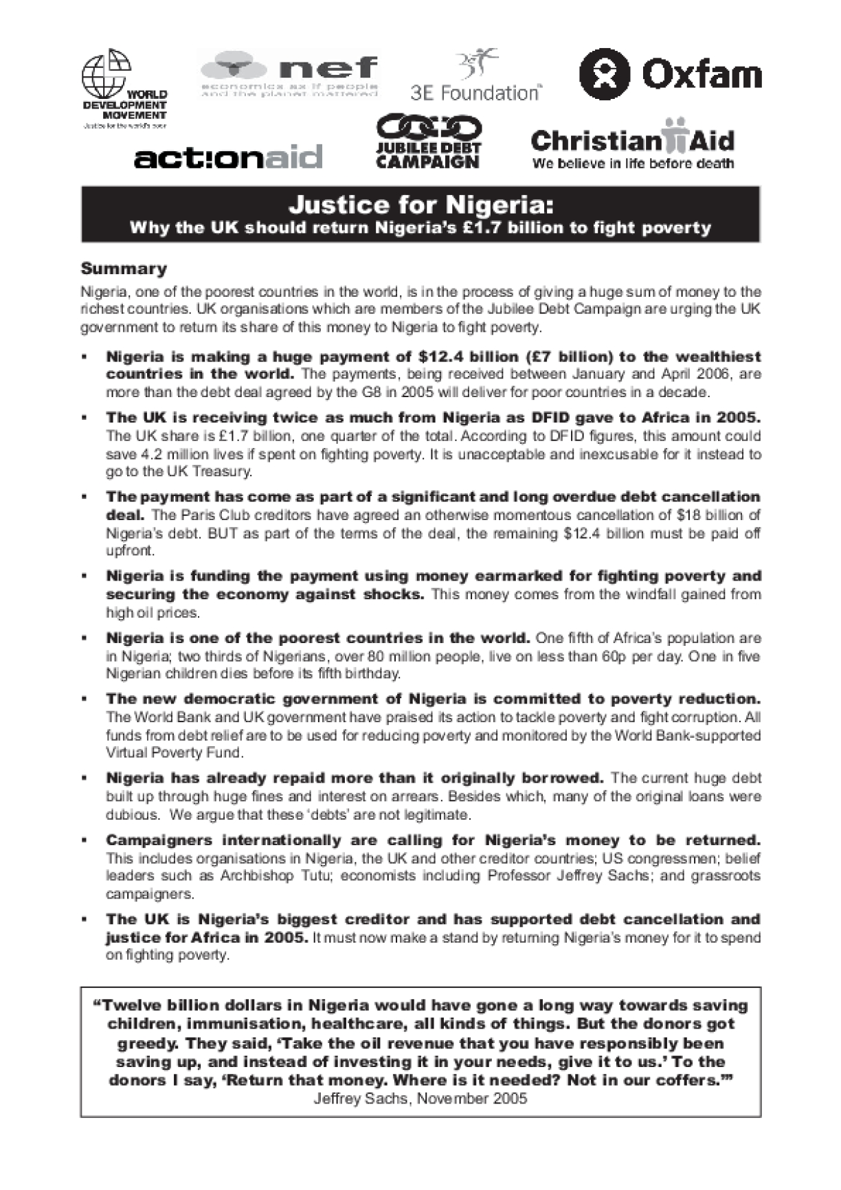 Justice for Nigeria: Why the UK Should Return Nigeria's £1.7 Billion to Fight Poverty