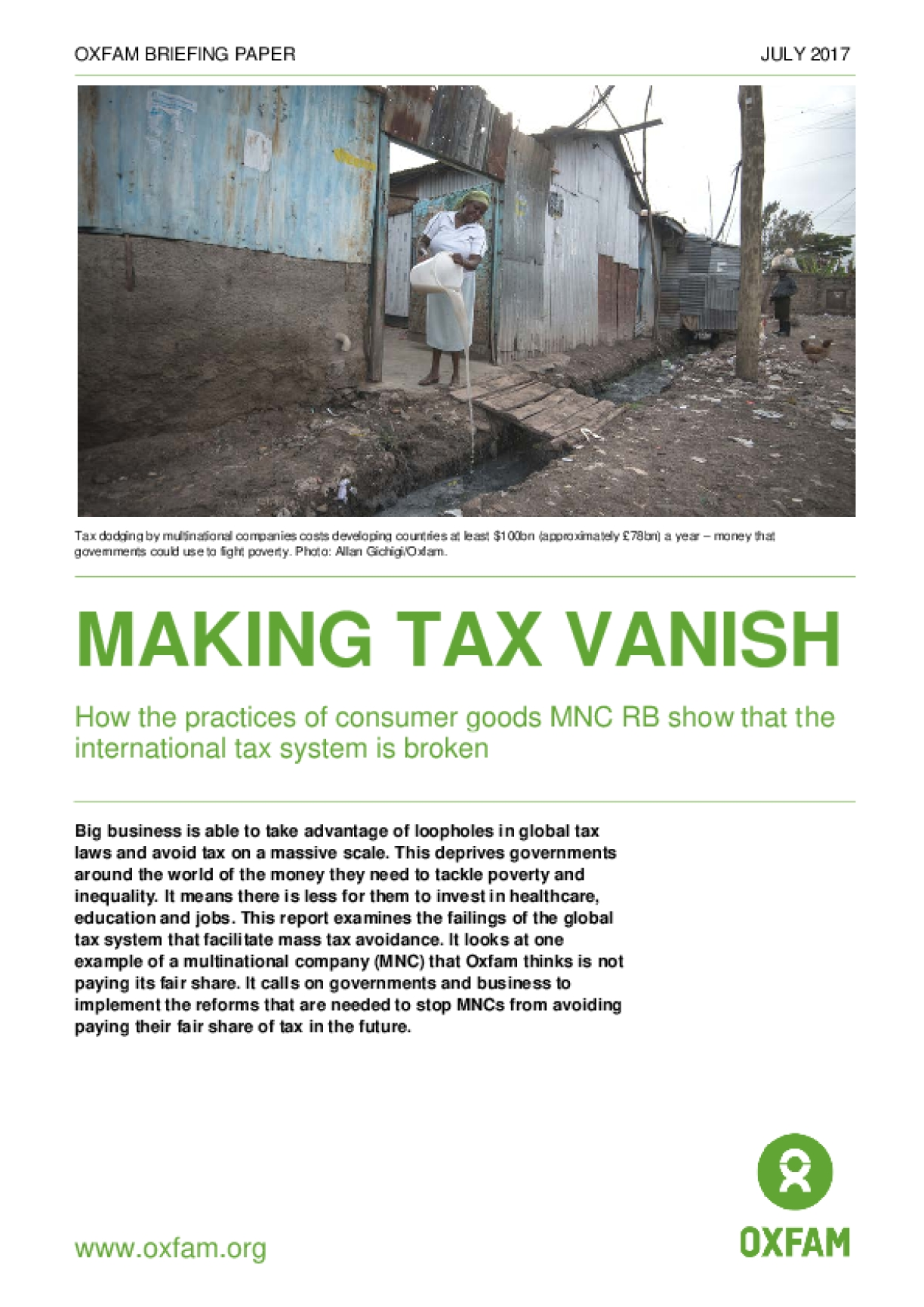 Making Tax Vanish: How the Practices of Consumer Goods MNC RB Show That the International Tax System Is Broken