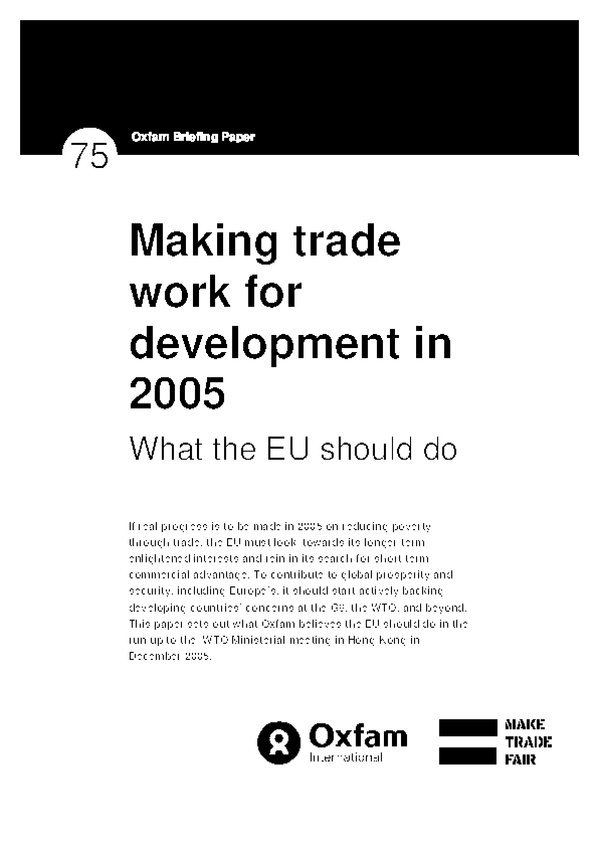 Making Trade Work for Development in 2006: What the UK Should Do