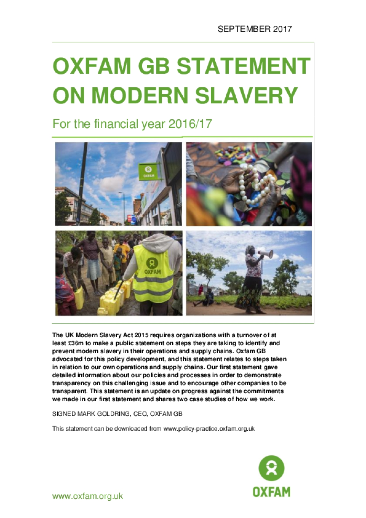 Oxfam GB Statement on Modern Slavery for the Financial Year 2016/17