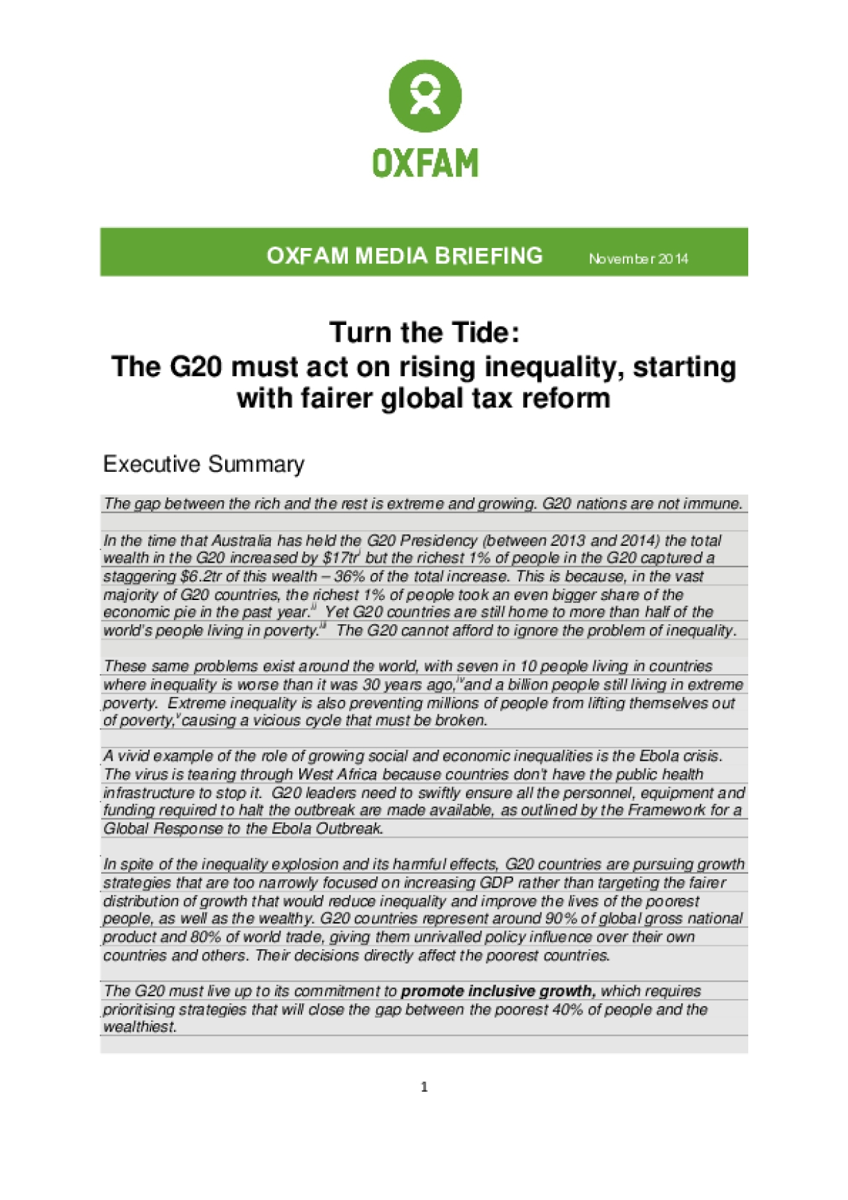 Turn the Tide: The G20 Must Act on Rising Inequality, Starting with Fairer Global Tax Reform