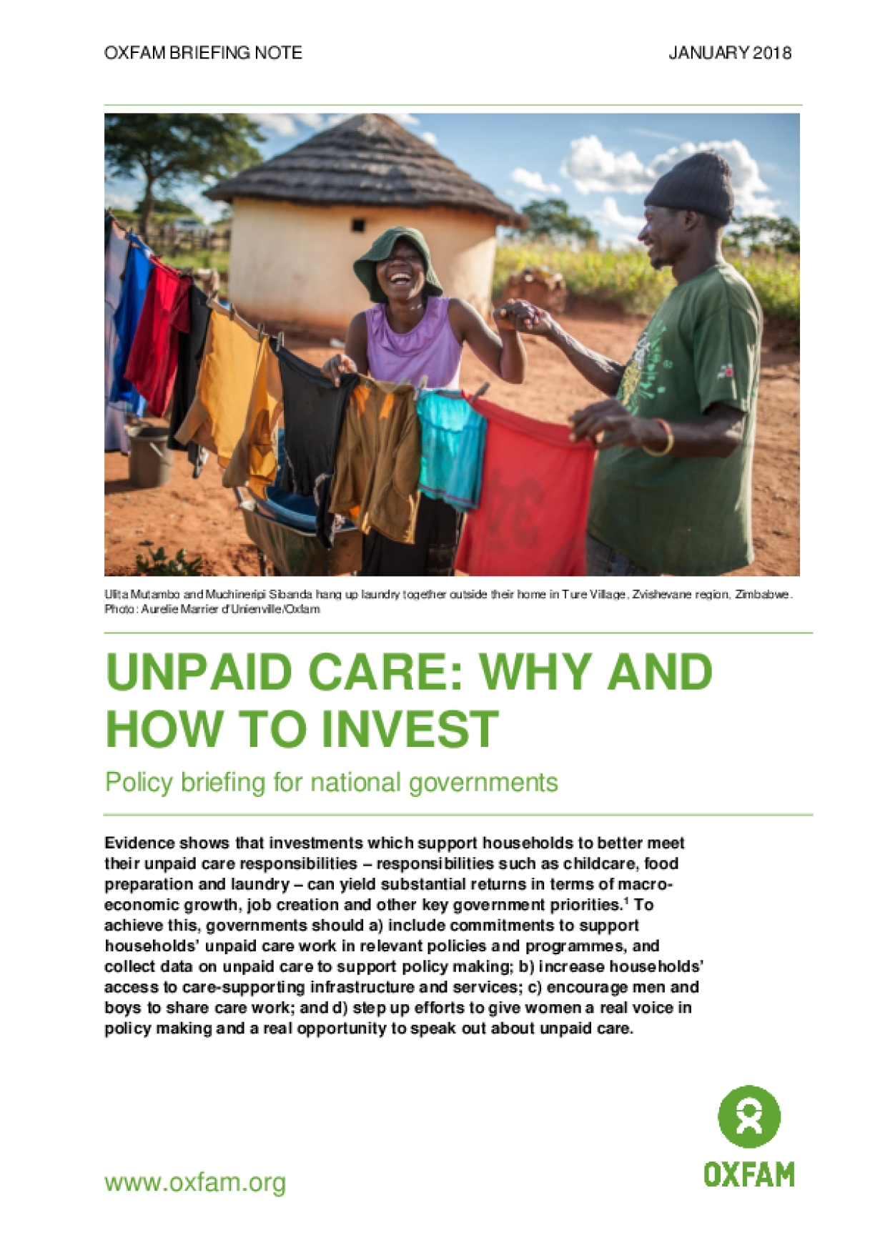 Unpaid Care - Why and How to Invest: Policy Briefing for National Governments's Poorest Countries
