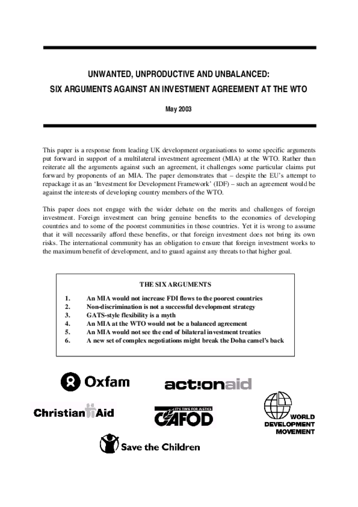Unwanted, Unproductive and Unbalanced: Six Arguments Against an Investment Agreement at the WTO