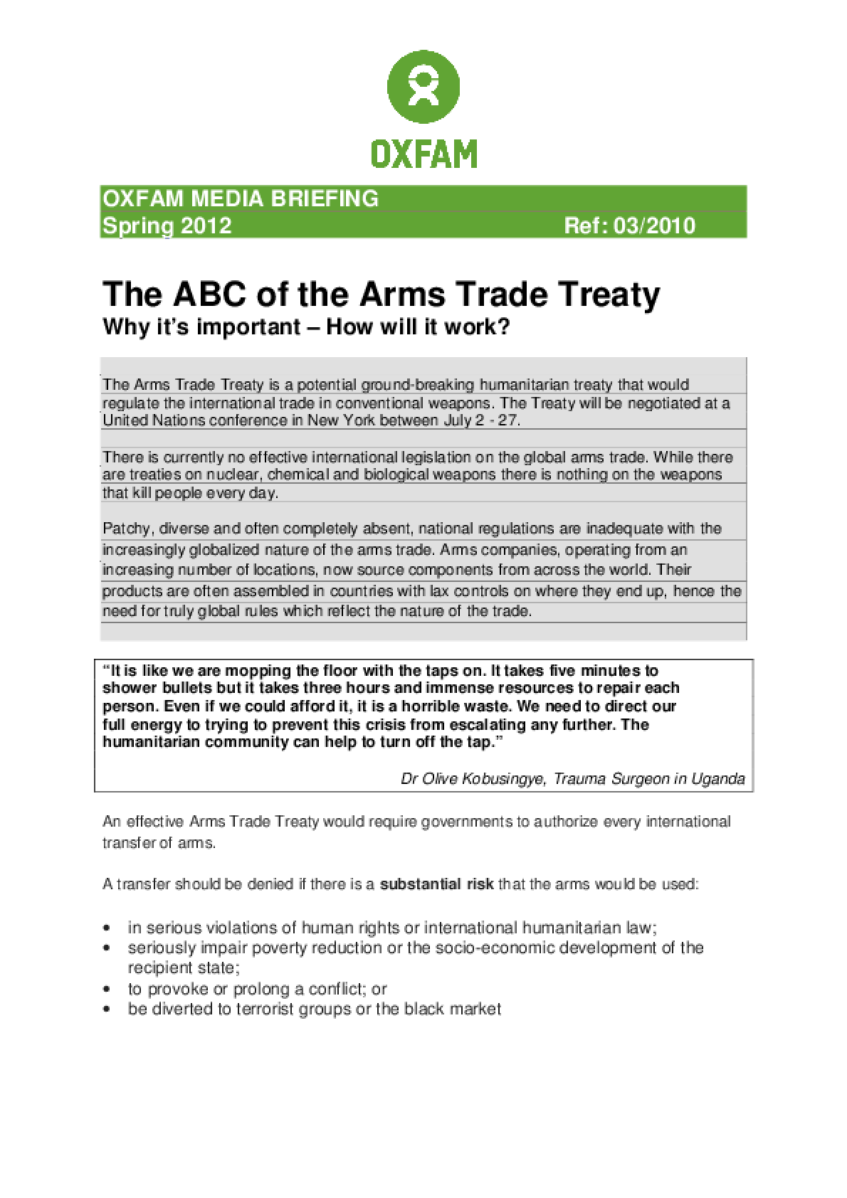The ABC of the Arms Trade Treaty: Why it's important - How will it work?