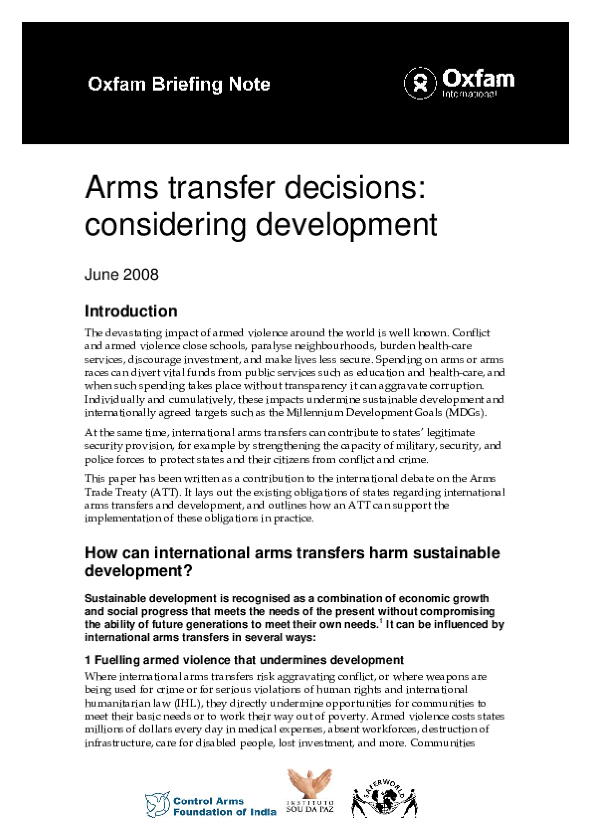 Arms Transfer Decisions: Considering development