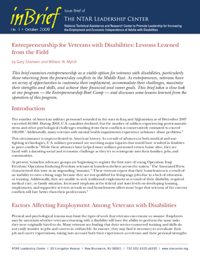 Entrepreneurship for Veterans with Disabilities: Lessons Learned from the Field