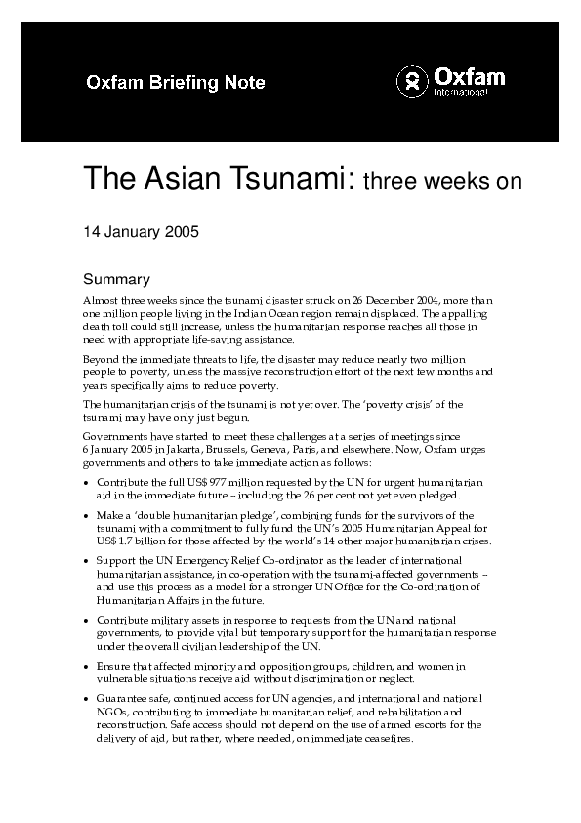 The Asian Tsunami: Three weeks on
