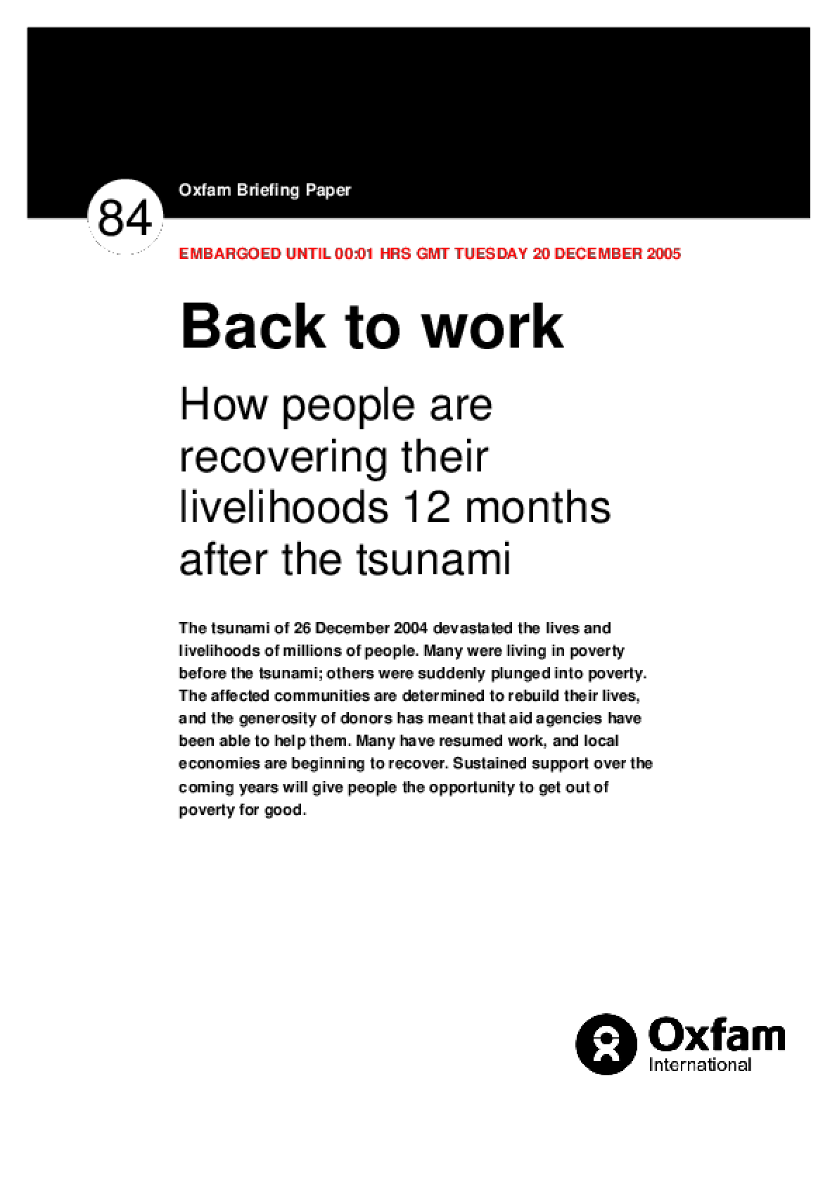 Back to Work: How people are recovering their livelihoods 12 months after the tsunami