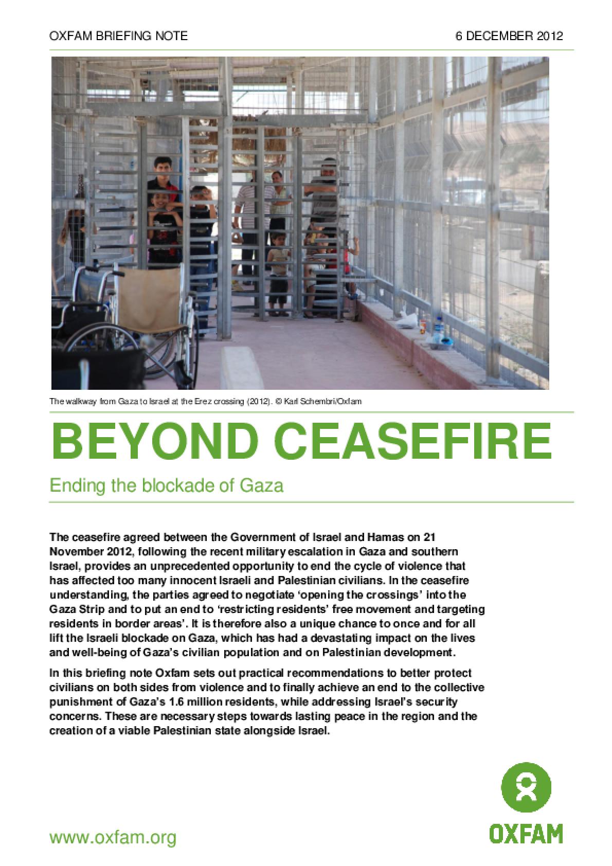 Beyond Ceasefire: Ending the blockade of Gaza