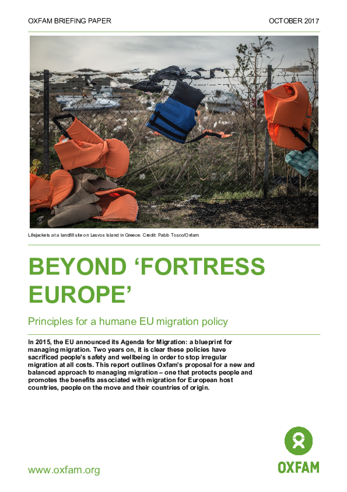 Beyond 'Fortress Europe': Principles for a humane EU migration policy
