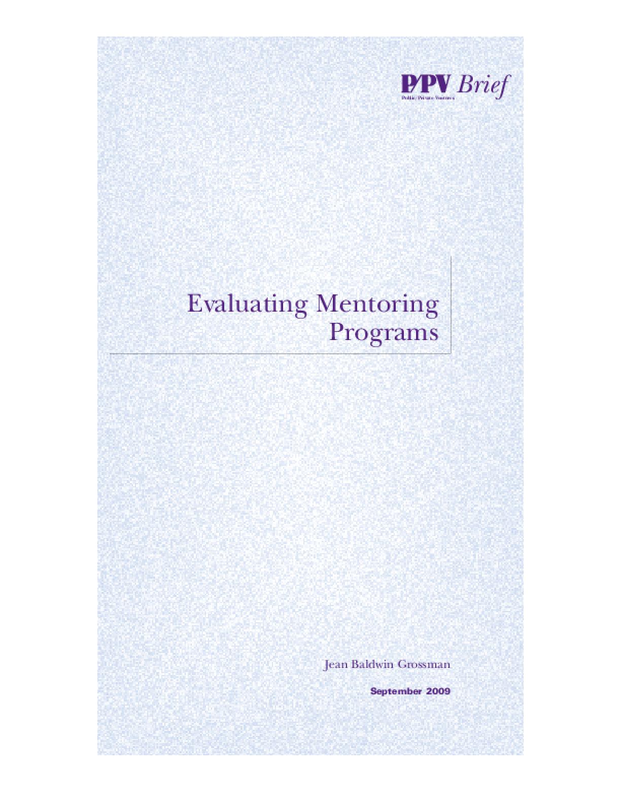 Evaluating Mentoring Programs